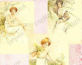 Digital Vintage Antique 1900s Art Nouveau Women Clip Art - Print at Home Decor - INSTANT DOWNLOAD