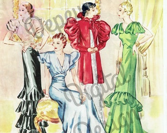 Digital Large Vintage 1930s Fashion Print Sewing Pattern Magazine Page McCall - Print at Home Decor - INSTANT DOWNLOAD