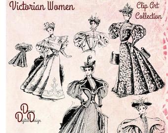 Digital Vintage Antique 1890s Fashionable Victorian Women Clip Art - Print at Home Decor - INSTANT DOWNLOAD