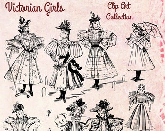 Digital Vintage Antique 1890s Fashionable Victorian Girls Clip Art - Print at Home Decor - INSTANT DOWNLOAD
