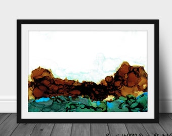 Digital Original Alcohol Ink Art Painting Norway Abstract by Anna Depew - Print at Home Decor - INSTANT DOWNLOAD