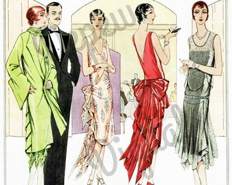 Digital Large Vintage 1920s French Fashion Print Sewing Pattern Magazine Page Butterick - Print at Home Decor - INSTANT DOWNLOAD