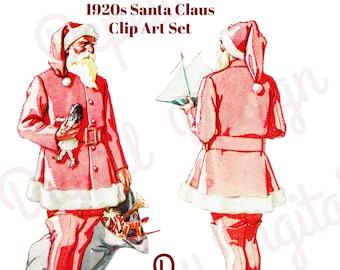 Digital Vintage 1920s Clip Art Christmas Santa Claus- Graphic Design Package - INSTANT DOWNLOAD