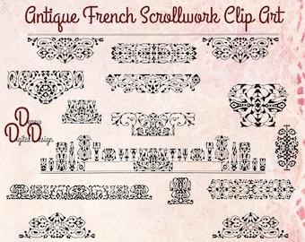 Digital Vintage Antique Clip Art Scrollwork Borders - Print at Home Decor - INSTANT DOWNLOAD