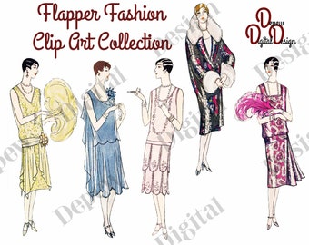 Digital Large Vintage 1920s French Flapper Fashion Clip Art Collection - Print at Home Decor - INSTANT DOWNLOAD