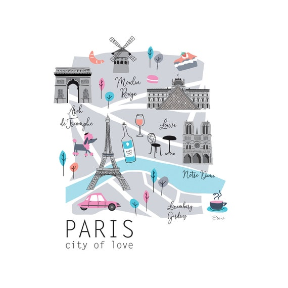 Illustrated Paris map, tourist souvenir map of Paris, cute map of Paris,  map illustration, map of Paris drawing, custom maps, map, Paris.