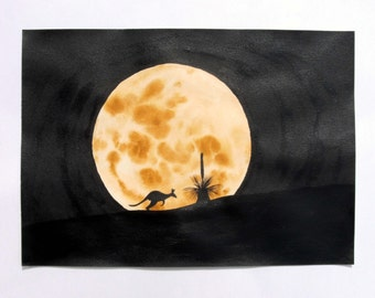 Kangaroo silhouette painting, watercolour and ink, moonrise in Australia, with grasstree, A3 size, original, unframed
