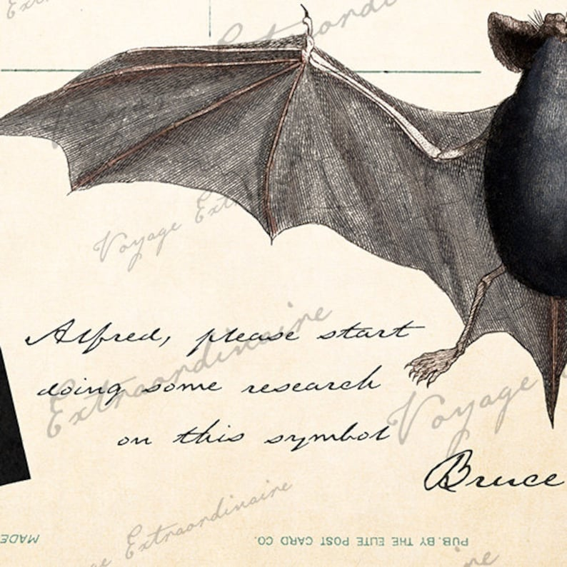 Le Noctilion de Gotham digital image ready to print or for Scrapbooking Altered Art Victorian Style  PS1