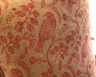 """16"""" Cushion - Handprinted Linen Cushion Cover - Red 'Tuvi' Print -  Includes Feather Filled Cushion Pad"""