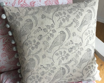 """18"""" Cushion - Handprinted Linen Cushion - Grey 'Tuvi' Print With Pompom Trim - includes  Feather Filled Cushion Pad"""
