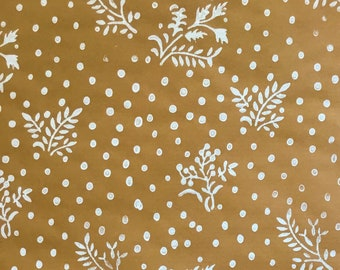 Handprinted Luxury Christmas Wrapping Paper - Natural with White 'Mistletoe' Print