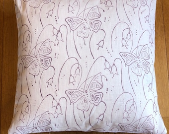 """16"""" Cushion - Handprinted Linen Cushion Cover - Purple 'Butterfly' Print -  Includes Feather Filled Cushion Pad"""
