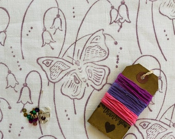 Butterfly Print Hand Embroidery Slow Stitch Kit - perfect for journals, mixed media, patchwork, quilting, embroidery, crafting