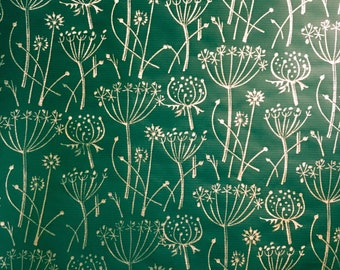 Handprinted Luxury Wrapping Paper - Green with Gold 'Tussock' Print - Recyclable