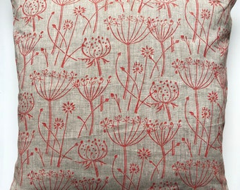 """18"""" Cushion - Handprinted Linen Cushion - Red 'Tussock' Print With Pompom Trim - includes  Feather Filled Cushion Pad"""