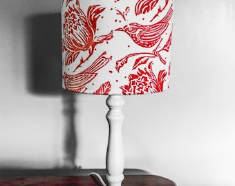 Handprinted Linen Lampshade - white linen with 'Flock' pattern handprinted in a vibrant red - 20 cm drum lampshade