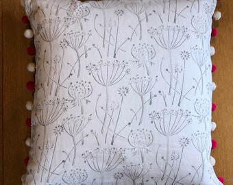 """18"""" Cushion - Handprinted Linen Cushion - Grey 'Tussock' Print With Pompom Trim - includes  Feather Filled Cushion Pad"""