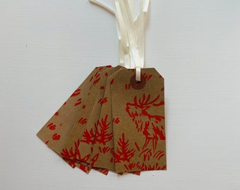 Kraft Gift Tag - Strung Labels - 'Stag' pattern handprinted in red - 95mm x 40mm - price tag - Christmas - party - rustic - gift