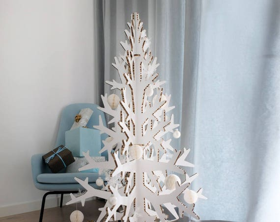 132 cm / 4.3' white cardboard laser cut Christmas tree