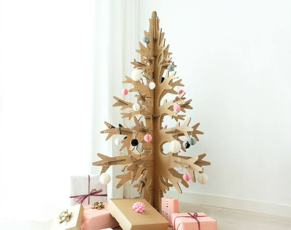 132cm / 4'33'' brown cardboard laser-cut modern cut-out christmas tree