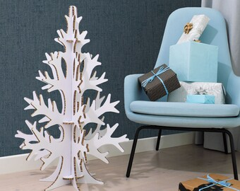 90cm/2,95ft laser cut cardboard christmas tree, white artificial tree, modern minimal scandinavian home and office, party decoration
