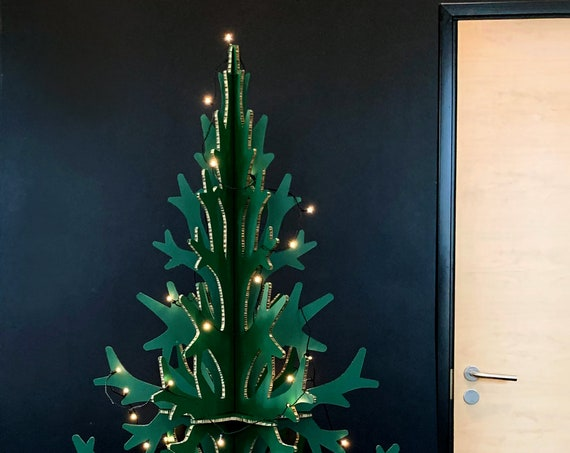 2m / 6,56 ft green cardboard christmas tree, modern Holiday decoration, home and office decor