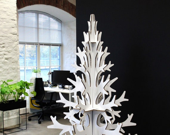 2m / 6,56 ft white cardboard christmas tree, modern Scandinavian holiday decoration, home and office decor
