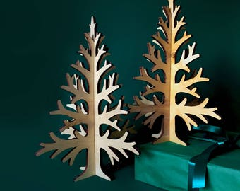 30cm / 11,8in laser-cut plywood table top Christmas tree (one), rustic Holiday home decoration, wooden laser cut table-top tree,