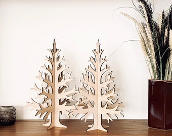 Laser-cut plywood table top Christmas tree, Holiday home decoration, wooden, birch veneer 30cm / 11,8in