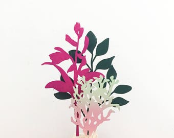 Wooden flowers, flower arrangement, Mothers day gift, set of three. Deep Green Blueberry Bush, Pink Hyacinth Orchid, Ombre Moss.