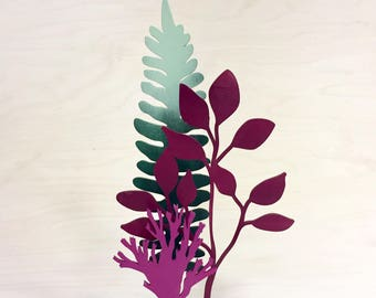 Wooden flowers, laser-cut flowers, set of three. Mothers day gift. Blushful Blueberry Bush, Ombre Fern and Mysterious Moss.