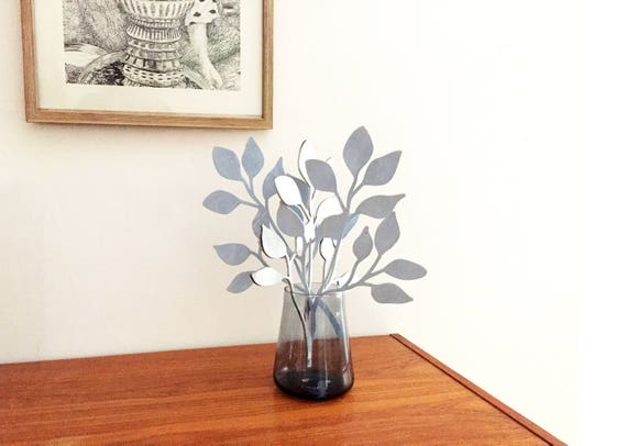Wooden flowers, Flower arrangement (set of three). Mothers day gift. Silver and Blue Blueberry Bushes