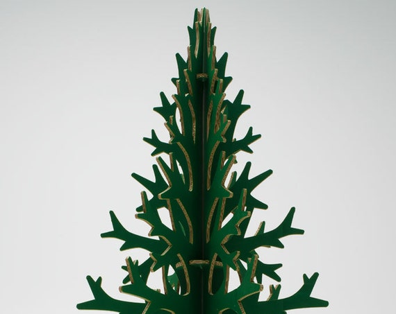 132 cm / 4'33'' green laser-cut cardboard artificial christmas tree, modern holiday home and office decoration