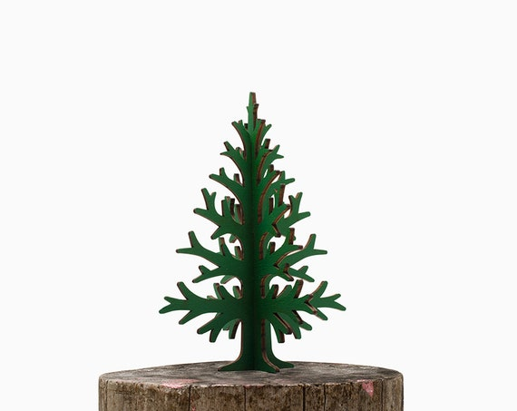 30cm / 11,8in green laser cut plywood table top Christmas tree, rustic Holiday home and office decoration, wooden christmas decor