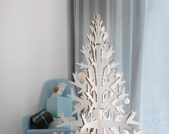Minimalist white modern artificial cardboard christmas tree laser cut 132 cm / 4.3'