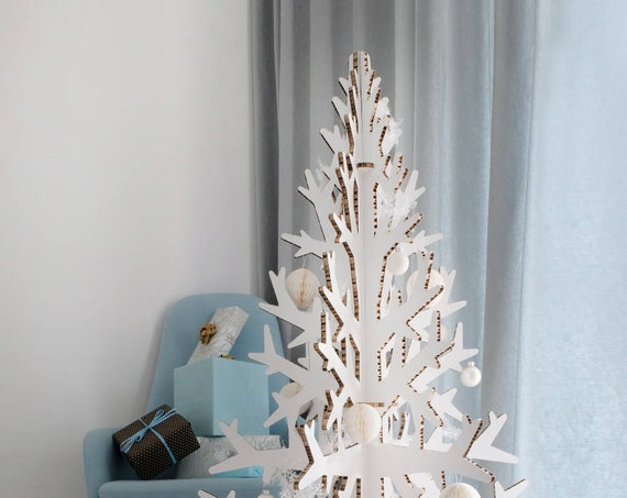 Minimalist white modern artificial cardboard christmas tree laser cut 132 cm / 4.3'