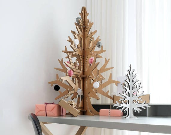 90 cm / 2'95'' laser-cut cardboard cutout christmas tree