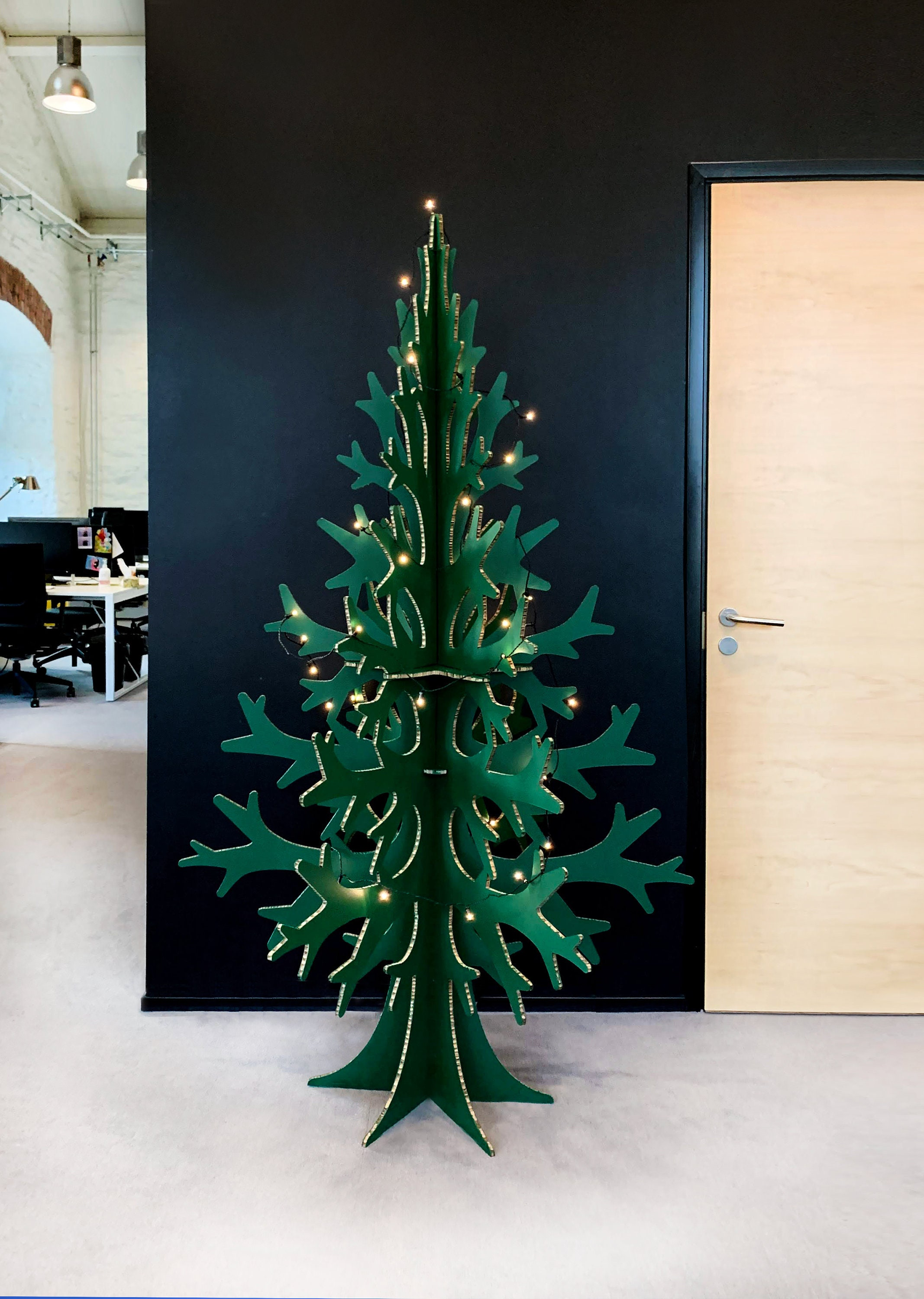 Cardboard Christmas Tree.2m 6 56 Ft Green Cardboard Christmas Tree Modern Holiday