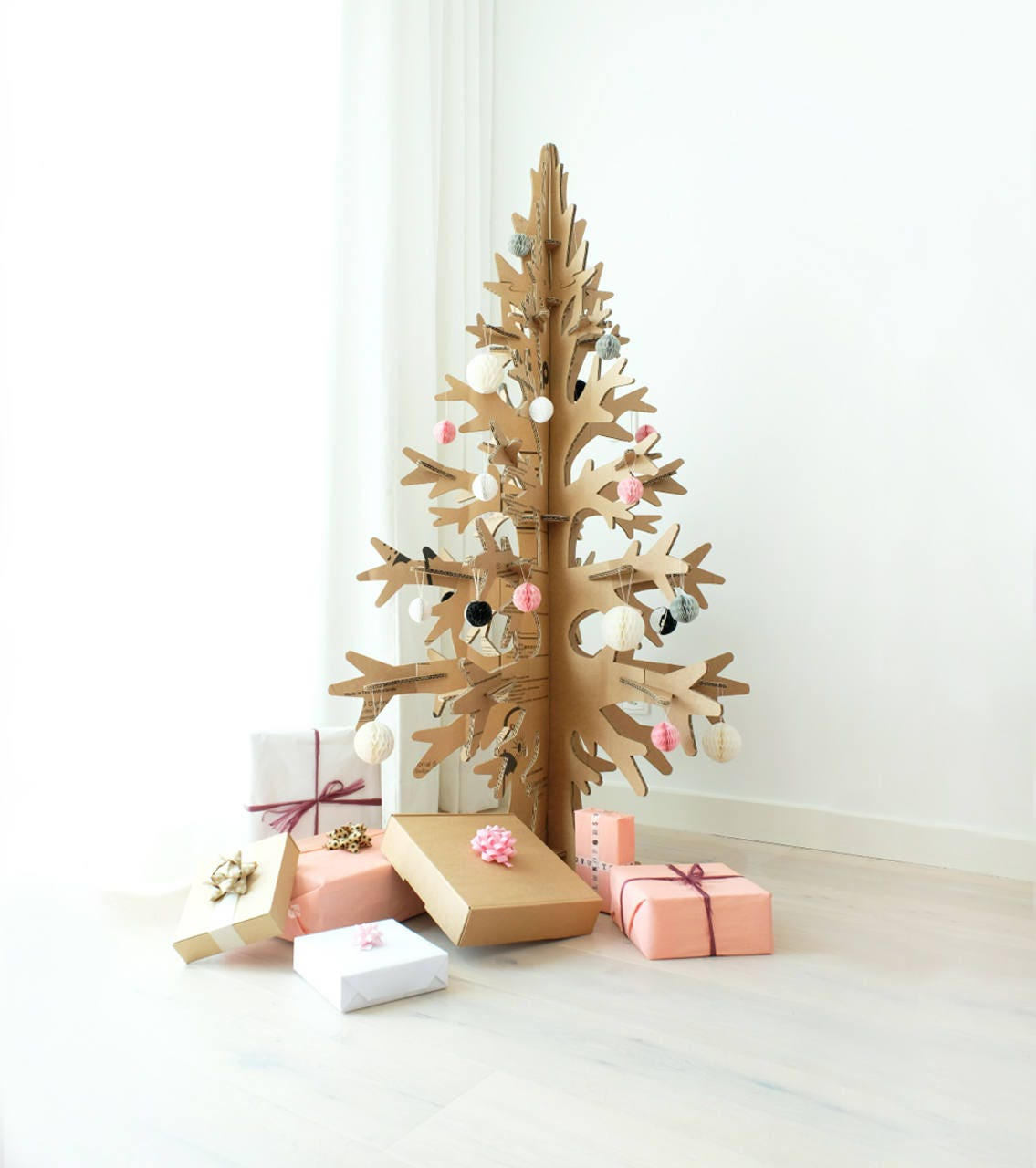 Christmas Tree Cut Out.Brown Cardboard Laser Cut Modern Cut Out Christmas Tree