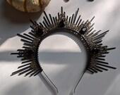 Drusilla Halo, Black Sunburst Headband, Gothic Crown, Antique Dark Hairband, Met Gala, Zip Tie,October Bride,Halloween Wedding,Bachelorette