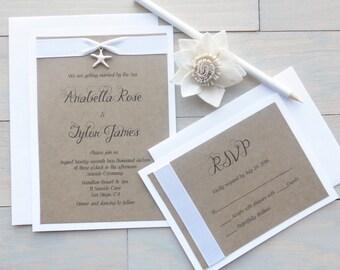 Beach Wedding Invitations, Starfish Beach Wedding Invitations, Beach Wedding