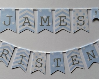 Personalised Name and Christening cake bunting blue stars, stripes & polka dot Cake topper