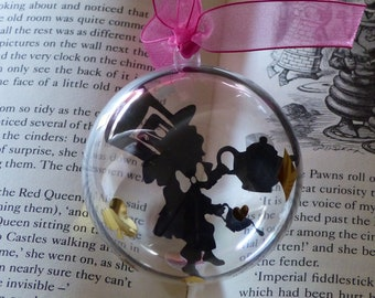 Mad Hatter black silhouette from wonderland paper cut bauble