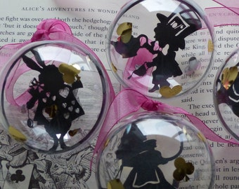 Select your own Trio of Alice in Wonderland baubles