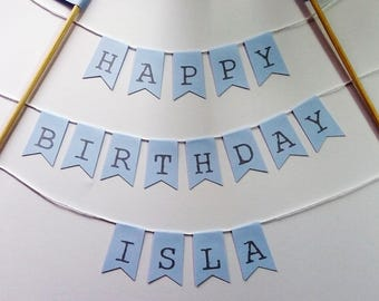 Personalised Name and Happy Birthday cake bunting blue Cake topper