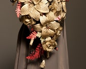 "Dracula book bouquet Paper flower bouquet lily & rose cascade ""Scarlet Bride of Dracula"" Paper wedding flowers"