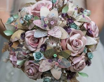 Vintage ephemera paper wedding bouquet