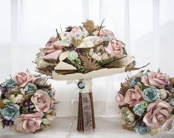 Vintage ephemera paper bridesmaids bouquet