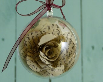 Paper book rose Brontë sisters quote bauble