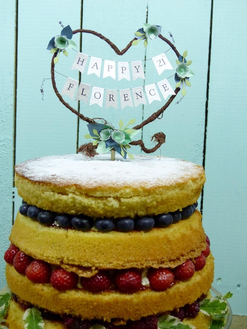 Happy Birthday Rustic Heart Birthday Cake Topper Personalised Etsy